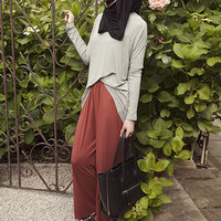 BASIC GREY DRAPE TOP - $35.76 : Inayah, Islamic clothing & fashion, abayas, jilbabs, hijabs, jalabiyas & hijab pins