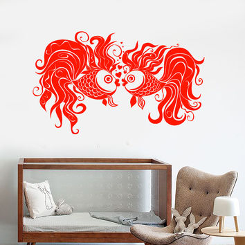 Vinyl Wall Decal Little Goldfish Aquarium Fish Pets Hearts Love Romance Stickers Unique Gift (1489ig)
