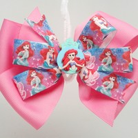 """Little Mermaid"" Shocking Pink Ribbon Hair Bow"
