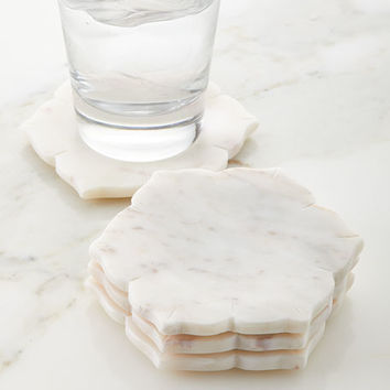 John Robshaw Marble Coasters, Set of 4