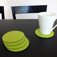 Lime Green Coasters Made Of Merino Wooll Felt, Set Of 4 Round Drink Coasters, Home Decor Tableware Eco-Friendly Coasters, Party Decoration