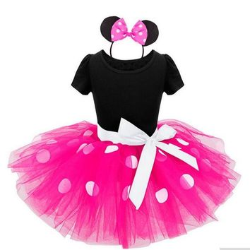 New Years kids Ballet dress princess party costume infant clothing Polka dot baby clothes birthday girls tutu dress Head band