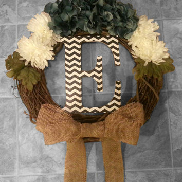 Grapevine Wreath with Pale Blue Hydrangeas & Cream Dahlias with a Chevron Monogram and Double Burlap Bow