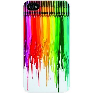 Tab Dripping colors/ crayon White Hard Snap on Case Cover for Apple Iphone 4 & 4s Universal - Verizon - Sprint - At&t - Great Affordable Gift