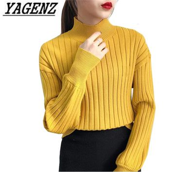 Factory direct Women Turtleneck Sweaters Casual clothing Winter Loose Lantern sleeves Warm Lady Sweater Pullover Knit shirt