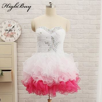 HighBuy 2017 Real Sweetheart Cute Pretty Ruffles Tulle Mini Short Prom Dresses Junior Birthday Party Dress Homecoming Dresses