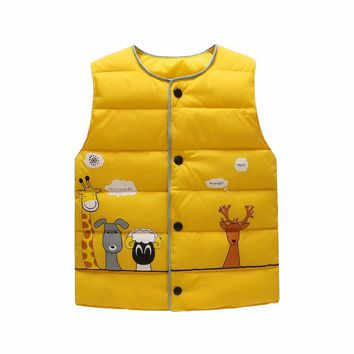 Giraffe cartoon 100%high quality cotton parkas Children's vest for girls boy coat down and parkas kids vest winter clothing warm