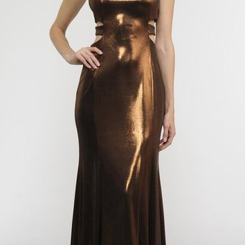 Brown Metallic Foil Sleeveless Long Formal Dress with Side Cut-Outs