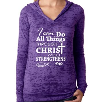 I Can Do All Things Through Christ Philippians 4 13 Bible Verse Womens Workout Hoodie