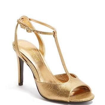 Lauren Ralph Lauren Sedona Metallic Embossed Leather T Strap Sandals