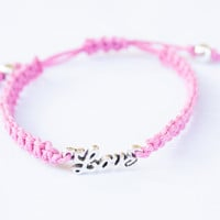 Love in Script Pink Bracelet