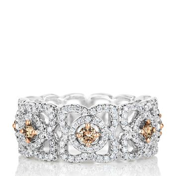 De Beers White Gold Fancy Coloured Enchanted Lotus Band | Harrods.com