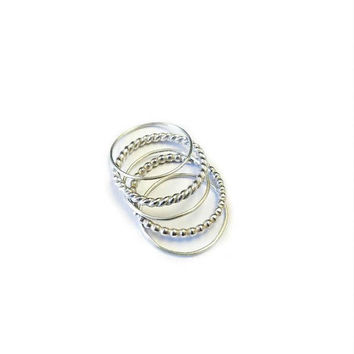 Stacking Rings Set, Set of Five Silver Stacking Rings, Dainty Rings, Minimalist Rings, Stackable Ring, Twist Ring, Bead Ring, Skinny Ring