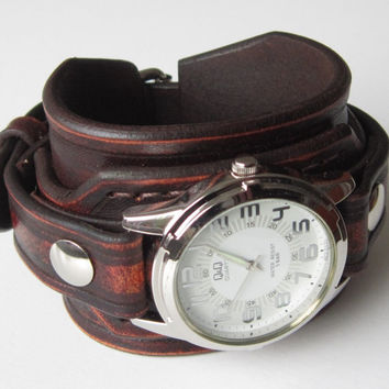 Mens Leather watch, Antique brown rustic leather Wrist Watch, Leather cuff watch