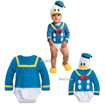 Licensed cool Donald Duck Tales Baby Bodysuit Dress Up Costume & 3D Hat w/ Tail Disney Store