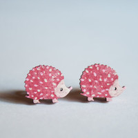 Pink hedgehog wooden earrings, OOAK.