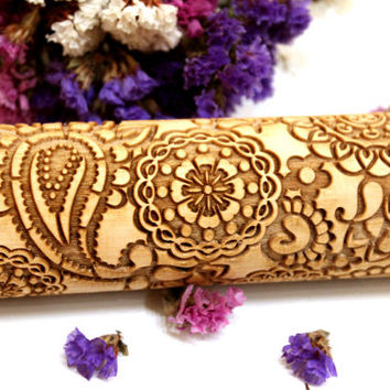 FLOWERS FLORAL PAISLEY Pattern, Embossing Rolling Pin, Laser Engraved Rolling Pin, Embossed Dough Roller, Gift, Rolling Pin, 2