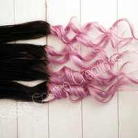 "22"" 1 Piece Pretty in Pastel Pink Brown Ombre Dip Dye Clip In Human Hair Extensions"