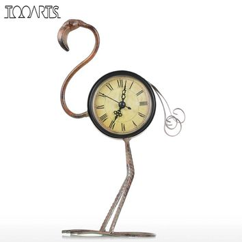 Tooarts Flamingo Wrought Iron Clock Retro Desks Clock decoration Handmade Vintage Metal Home Decor Figurine Mute Table Clock