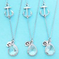 Set of 2-10, Nautical, Clear, Glass,Wedding, Necklace, Marine, Anchor, Bridesmaid, Necklace, Bridal, Wedding, Gift, Jewelry, Necklace, Set
