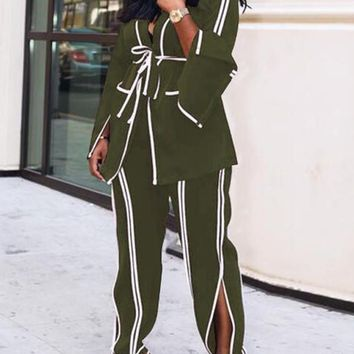 New Army Green Striped Pockets Sashes Turndown Collar Flare Sleeve Office Worker Long Jumpsuit