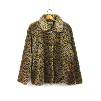 Leopard Faux Fur Coat VINTAGE 1980s Faux Fur Swing Coat Animal Print Plush Cheetah Print Exotic Hipster Pin Up Girl Winter Coat Womens Large