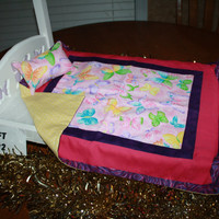 "American Girl sized, reversible doll bed quilt 17.5"" x 21"" with matching Pillow 4"" x 6"""