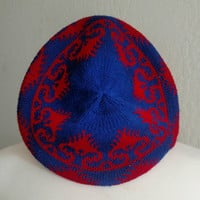 Vintage Japanese Made | 1980s | Hat | Red | Blue | Adrienne Vittadini | wool blend | University of Arizona colors | Samford University color
