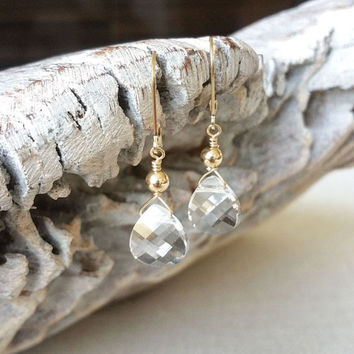 Clear Crystal Earrings, Clear Crystal Tear Drop Earrings, Clear Crystal Tear Drop Earrings in Gold or Silver, Clear Crystal Tear Drop