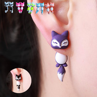 New Fashion Yellow Purple Black Animal Cute Fox Stud Earrings For Women Jewelry Gifts 0418