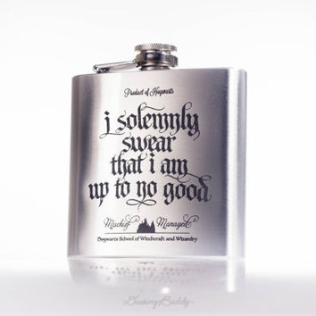 Marauder's Map - I solemnly swear that I am up to no good- Mischief Managed, inspired by Harry Potter - 6oz or 8oz Engraved Hip Flask