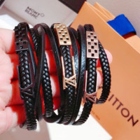 LV Louis Vuitton New Fashion Leather Women Men Personality Bracelet