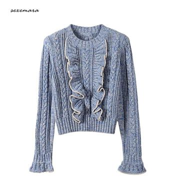 sweater pullover jumper flare sleeve ruffles for women warm brand 2017 spring runway sweater wool knitted knitwear high quality