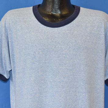 80s Screen Stars Blue Heathered Ringer Blank t-shirt Extra Large