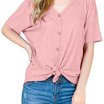 Simier Fariry Womens Short Sleeve Casual Summer Loose Fit Button Down Front Knot Tie Top Tees Shirts