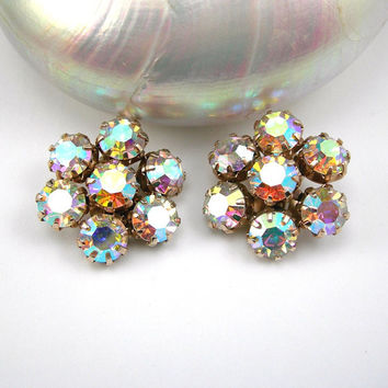 Weiss Rhinestone Earrings, Vintage 1950-60s Clip on Earrings, Aurora Borealis Stones, Silvertone Setting, Prong Set Stones, Costume Jewelry