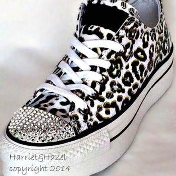 CREYUG7 Converse Chuck Taylor? All Star? Platform in Cheetah print with Swarovski crystal deta