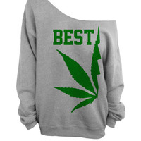 Best Buds - Gray Slouchy Oversized CREW - BEST