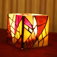 Purple Stained Glass Candle Holder/Vase, Purple Mosaic Candle Holder