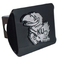 "University of Kansas Jayhawks ""Black with Chrome KU Jayhawk Emblem"" NCAA College Sports Metal Trailer Hitch Cover Fits 2 Inch Auto Car Truck Receiver"