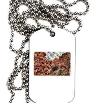 Colorado Painted Rocks Watercolor Adult Dog Tag Chain Necklace