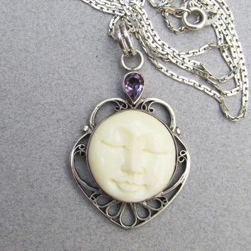 Vintage BALI Sterling Silver Carved Bone MOON Face & Amethyst Pendant Necklace