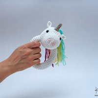 Crochet Rattle Unicorn, Unicorn Rattle, Rattle Toy, Newborn gift, Baby Rattle. Baby Cotton Rattle, Cotton Unicorn Rattle