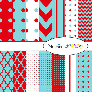 Digital Scrapbooking Paper Background Set – bright red and aqua patterns – chevron , quatrefoil , polka dot  , stripe , INSTANT DOWNLOAD