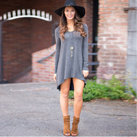 Grey Long Sleeve High-Low Dress