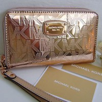 Michael Kors MK Rose Gold Electronics Large Flat Phone Clutch Wallet Wristlet
