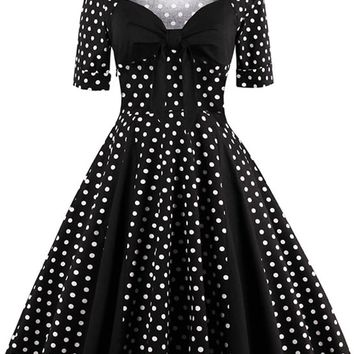 Atomic Black Retro Polka Dot Cocktail Dress