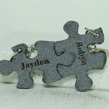 Puzzle Key chains Set of 2-10 Personalized Leather gift