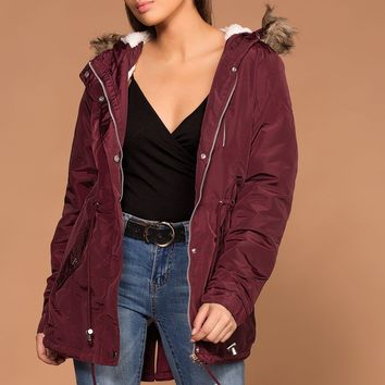 Andy Burgundy Removable Hood Utility Jacket