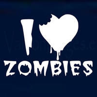 I love zombies vinyl car decal, graphic decal, vinyl decal, sticker, decal, car sticker, truck decal, laptop sticker